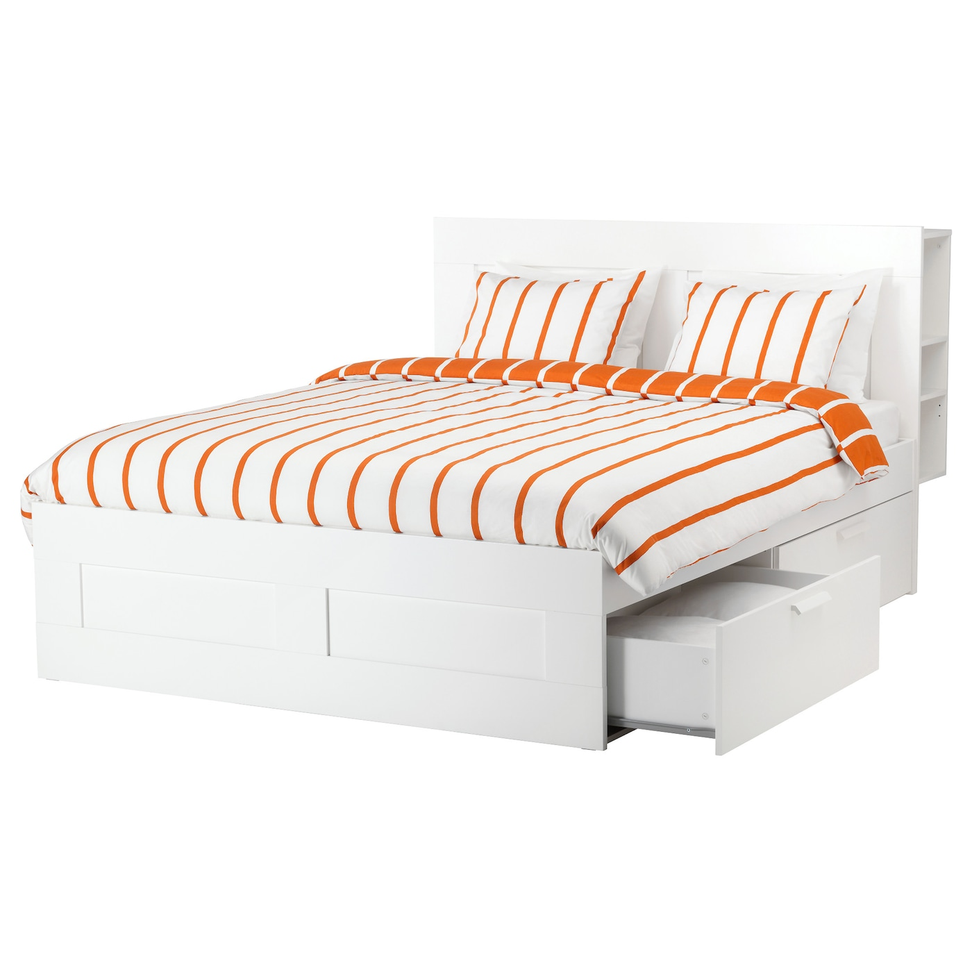BRIMNES Bed frame w storage and headboard White luröy Standard King