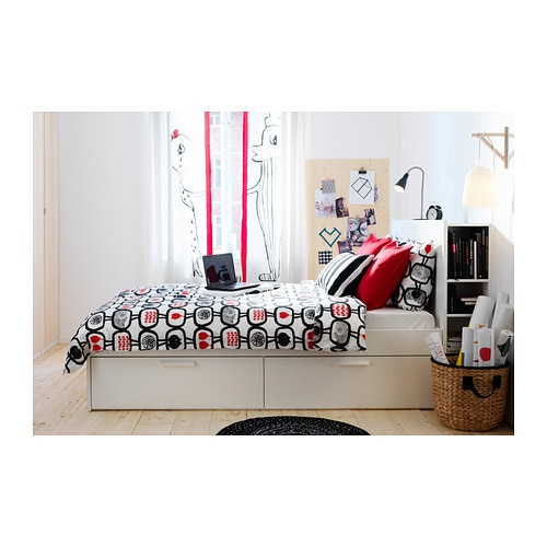Brimnes bed frame with storage white lur y standard double ikea - Ikea malm letto contenitore ...