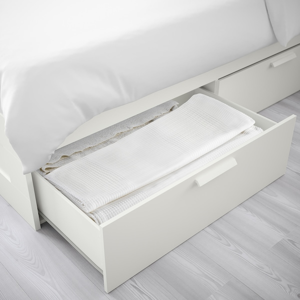 BRIMNES Bed frame with storage, white/Luröy, Standard Double
