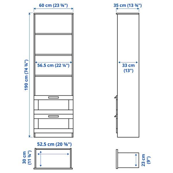 BRIMNES Bookcase, white, 60x190 cm