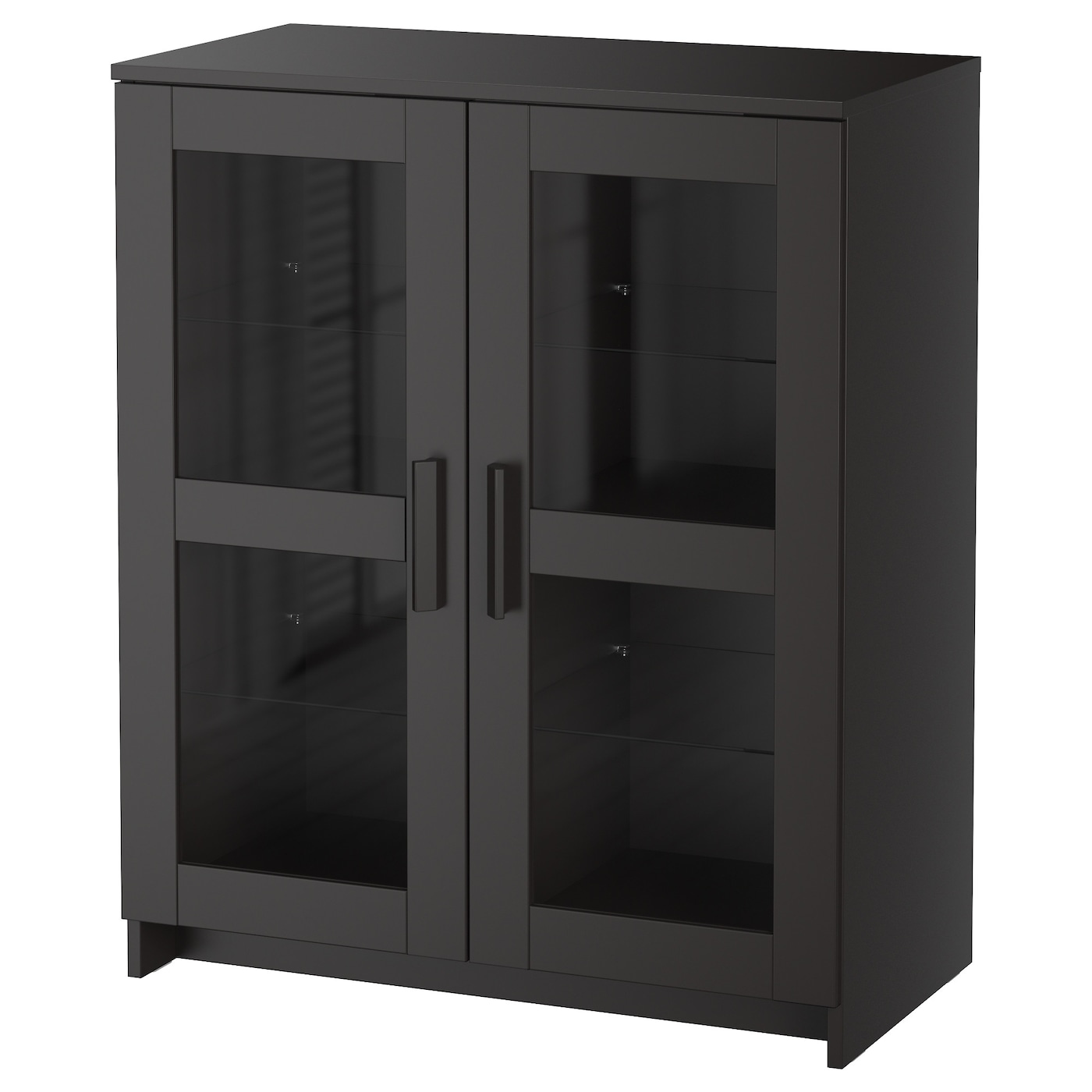 Brimnes cabinet with doors glass black 78x95 cm ikea - Ikea cabinet doors on existing cabinets ...