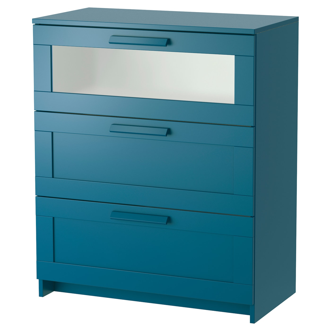 Brimnes chest of 3 drawers dark green blue frosted glass for Commode brimnes ikea 3 tiroirs