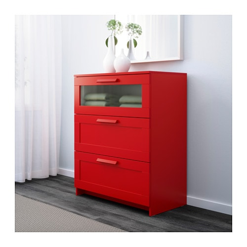 Brimnes chest of 3 drawers red frosted glass 78x95 cm ikea for Ikea brimnes commode 3 tiroirs