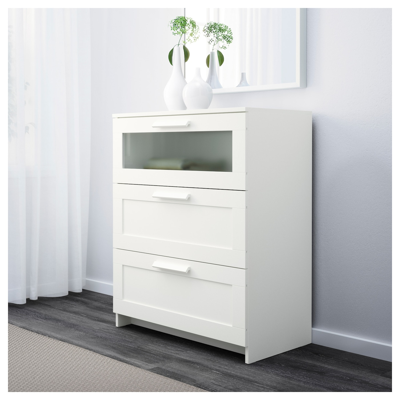 IKEA BRIMNES chest of 3 drawers Smooth running drawers with pull-out ...