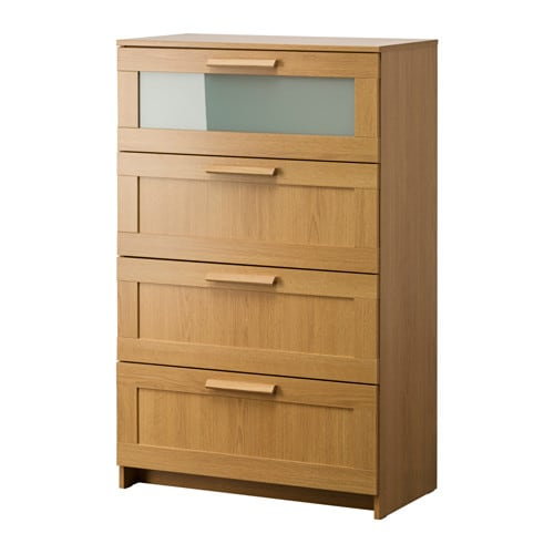 bedroom storage chest brimnes chest of 4 drawers oak effect frosted glass 78 x 10685