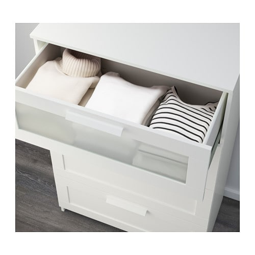 BRIMNES Chest of 4 drawers White frosted glass 78×124 cm IKEA