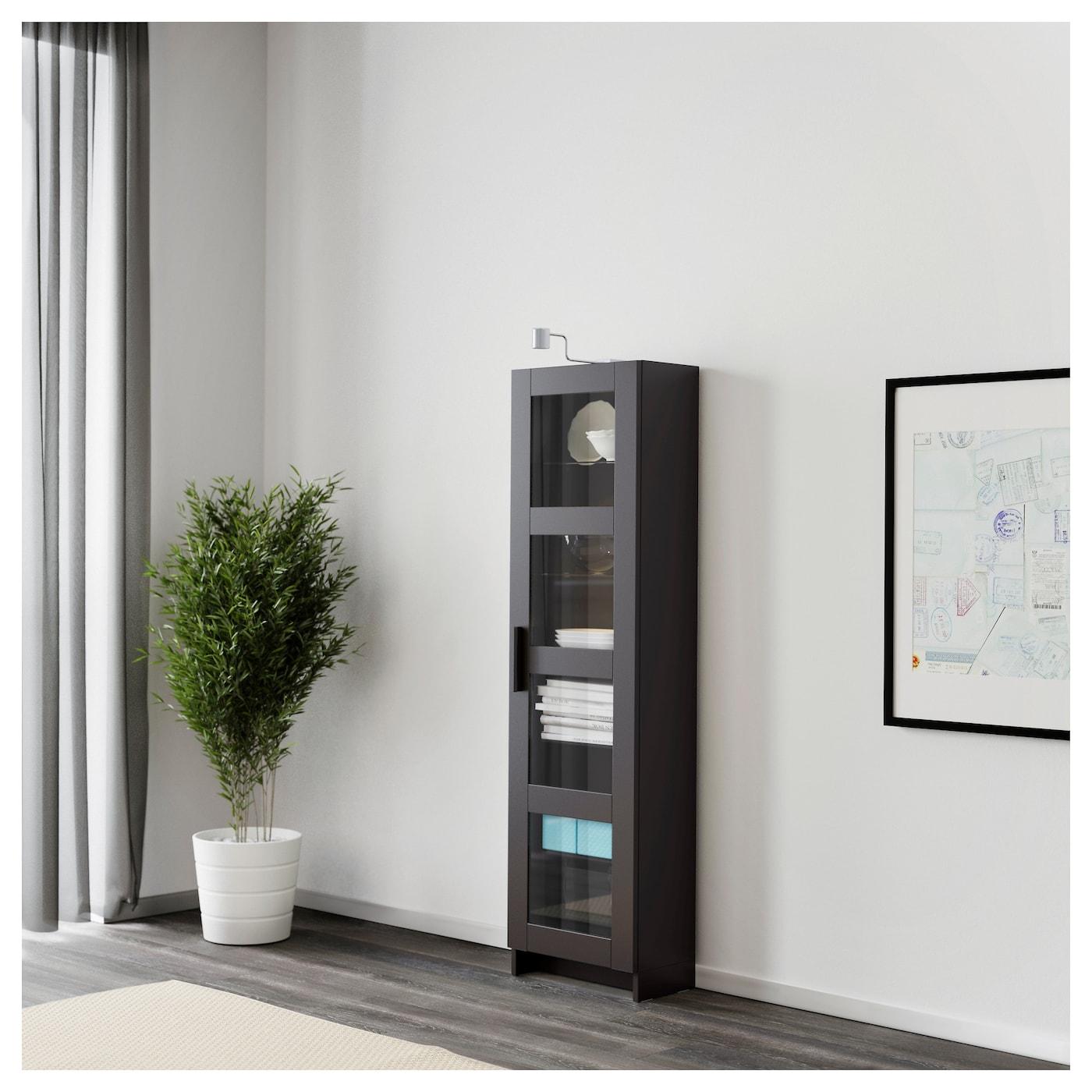 BRIMNES Glass door cabinet Black 39×142 cm IKEA