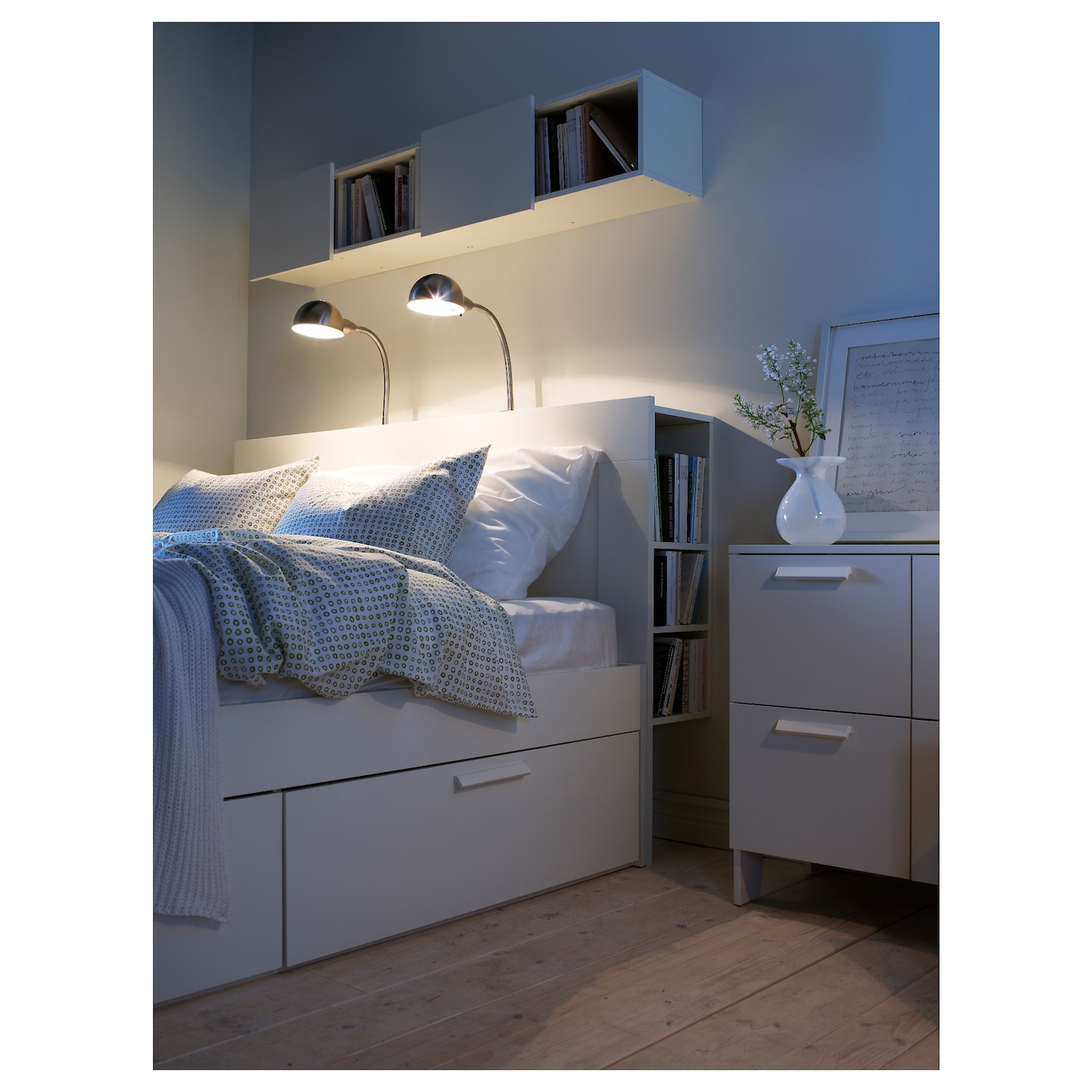 Ikea Brimnes Headboard With Storage Compartment Perfect For Things You Want To Reach From Your Bed