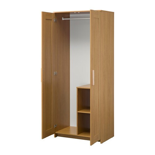 brimnes wardrobe with 2 doors oak effect 78x190 cm ikea. Black Bedroom Furniture Sets. Home Design Ideas