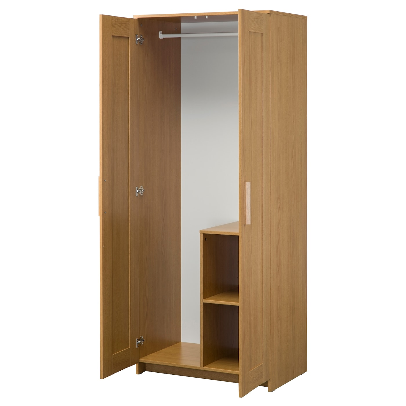 brimnes wardrobe with 2 doors oak effect 78 x 190 cm ikea. Black Bedroom Furniture Sets. Home Design Ideas