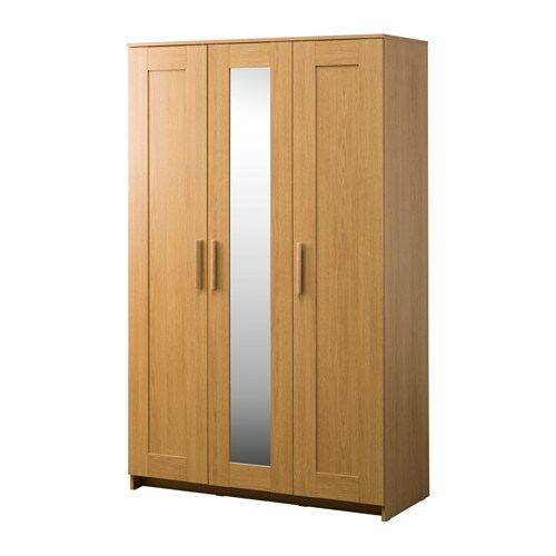 Brimnes Wardrobe With 3 Doors Oak Effect 117 X 190 Cm Ikea
