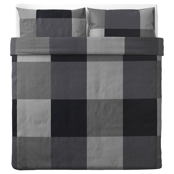 BRUNKRISSLA Quilt cover and 2 pillowcases, black, 240x220/50x80 cm
