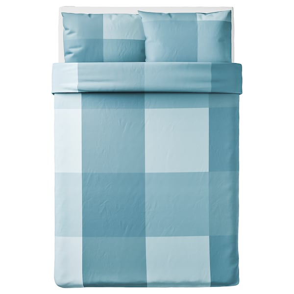BRUNKRISSLA Quilt cover and 2 pillowcases, light blue, 200x200/50x80 cm