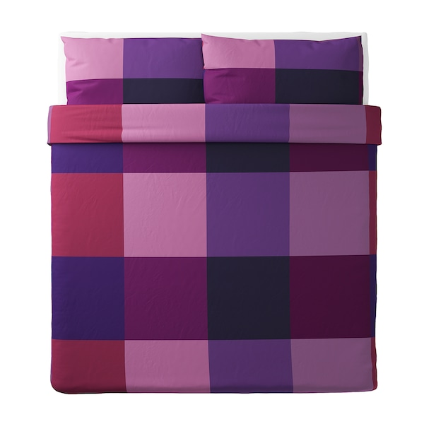 BRUNKRISSLA Quilt cover and 2 pillowcases, lilac, 240x220/50x80 cm