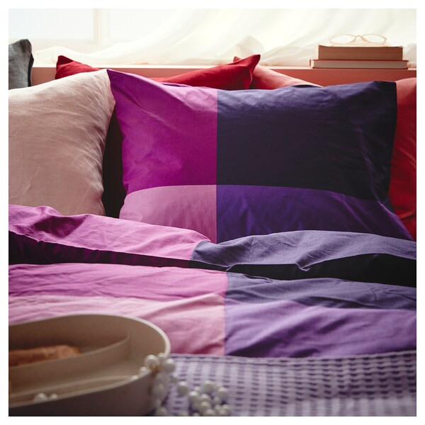 BRUNKRISSLA Quilt cover and 2 pillowcases, lilac, 200x200/50x80 cm
