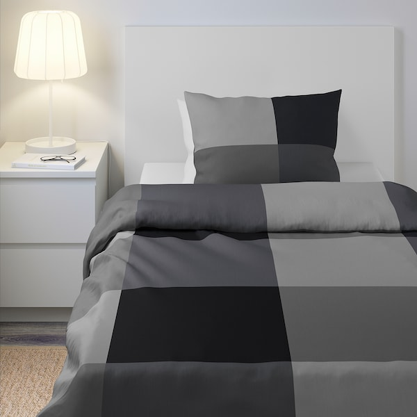 BRUNKRISSLA Quilt cover and pillowcase, black, 150x200/50x80 cm