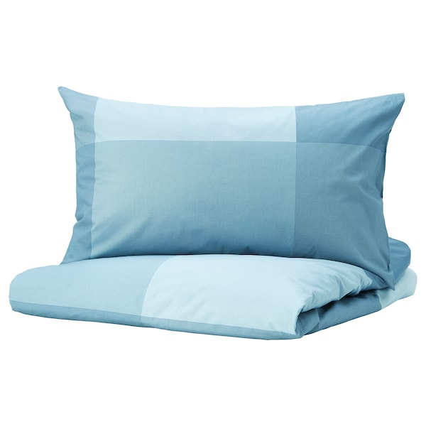 BRUNKRISSLA Quilt cover and pillowcase, light blue, 150x200/50x80 cm