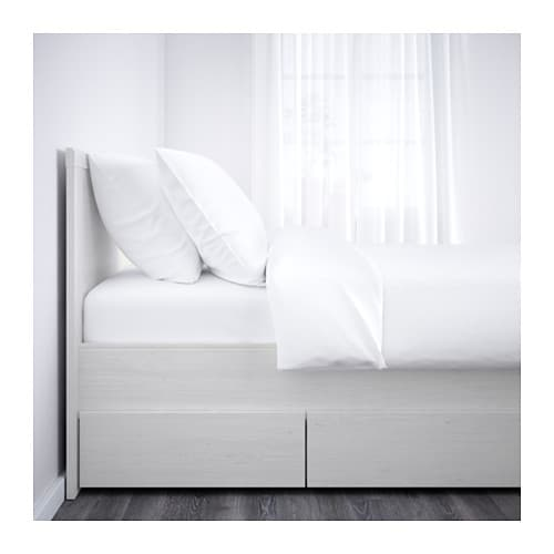 ... Bed frame with 4 storage boxes White/leirsund Standard Double - IKEA