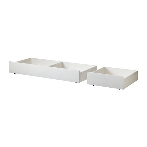 IKEA BRUSALI bed storage box, set of 2 Smooth running castors make content easily accessible.