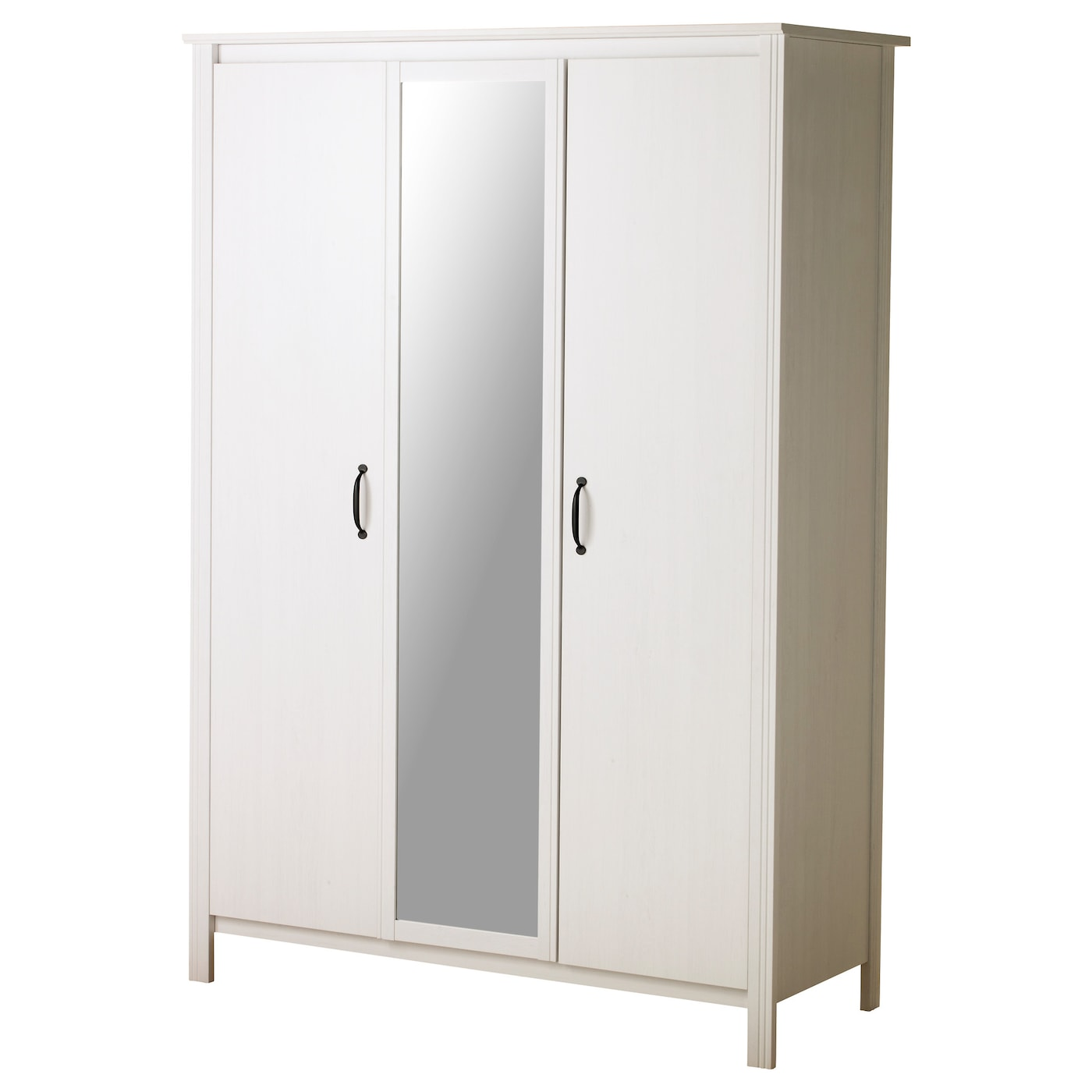 Brusali wardrobe with 3 doors white 131x190 cm ikea for Miroir 150x80