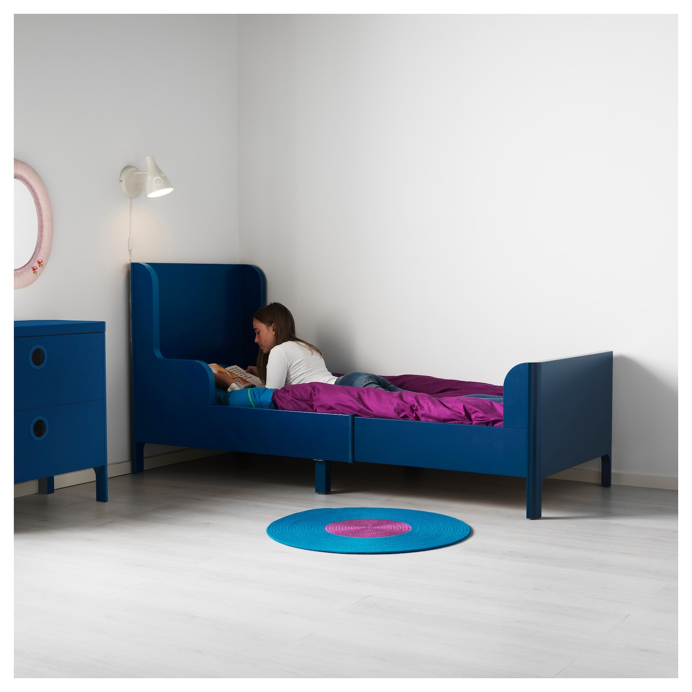 IKEA BUSUNGE extendable bed Extendable, so it can be pulled out as your child grows.
