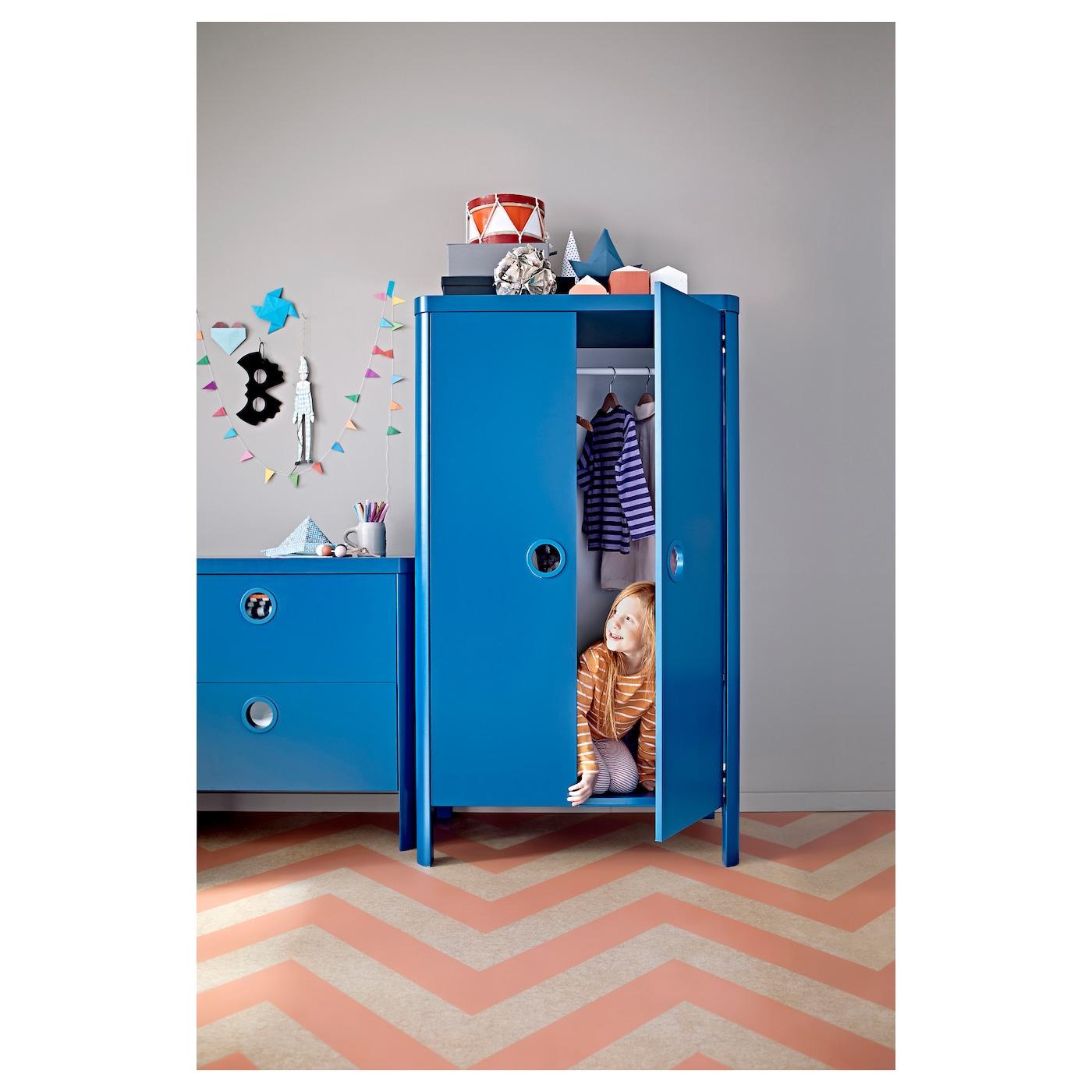 Busunge Wardrobe Medium Blue 80x139 Cm Ikea