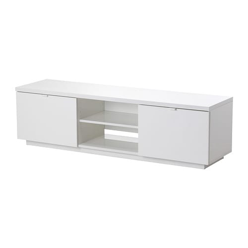 IKEA BYÅS TV bench The open compartment has an adjustable shelf for a DVD player or game console.