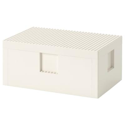 BYGGLEK LEGO® box with lid, white, 26x18x12 cm