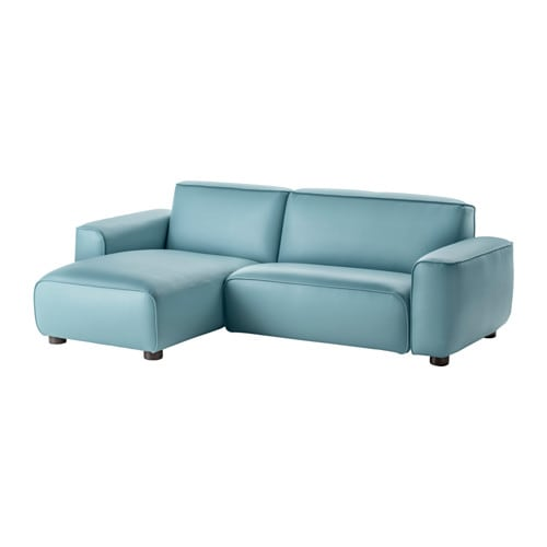 Dagarn two seat sofa with chaise longue kimstad turquoise for Chaise 65 cm ikea