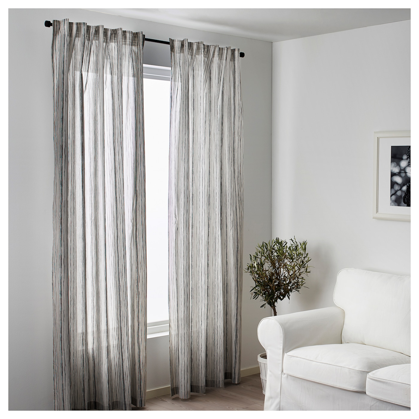 IKEA DAGRUN curtains, 1 pair The curtains can be used on a curtain rod or a curtain track.