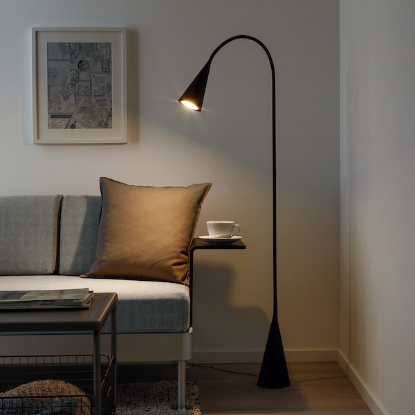 DELAKTIG LED floor lamp, black