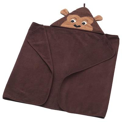 DJUNGELSKOG towel with hood monkey/brown 140 cm 70 cm