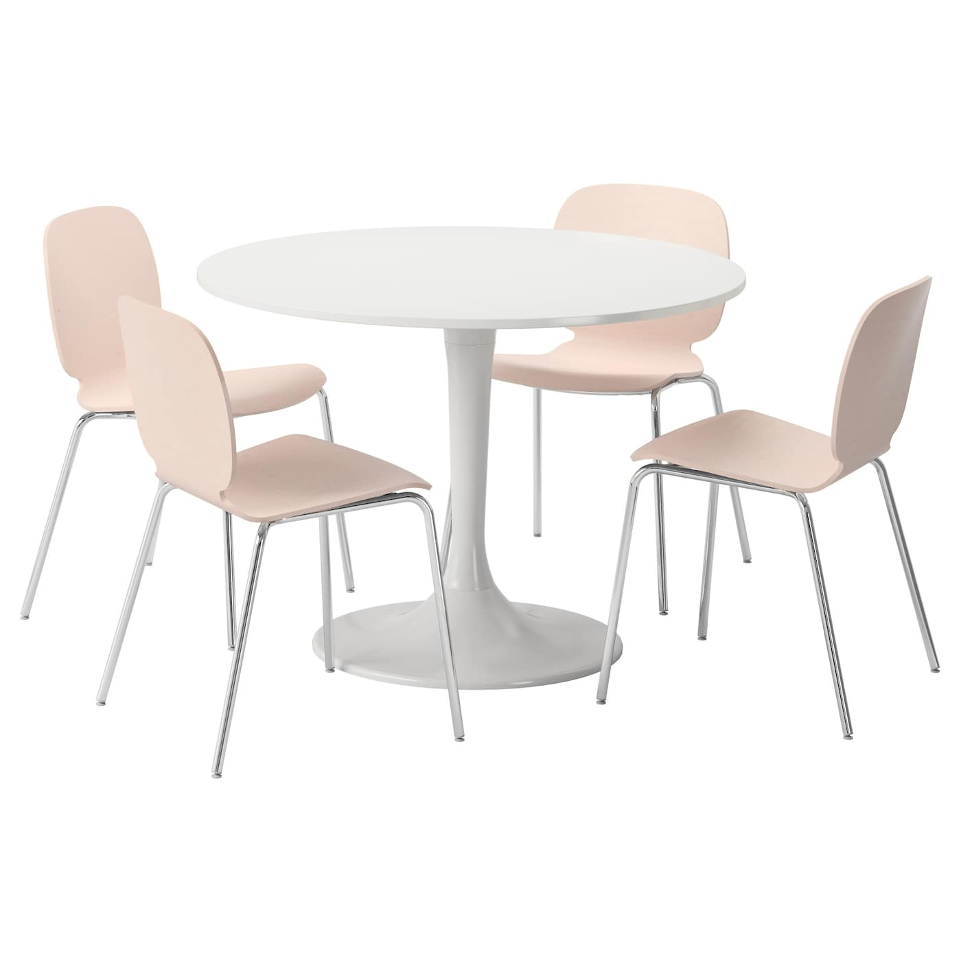docksta svenbertil table and 4 chairs white birch 105 cm ikea