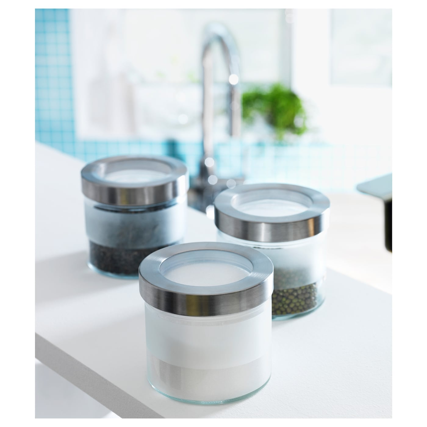 Droppar jar with lid frosted glass stainless steel 0 4 l for Ikea barattoli