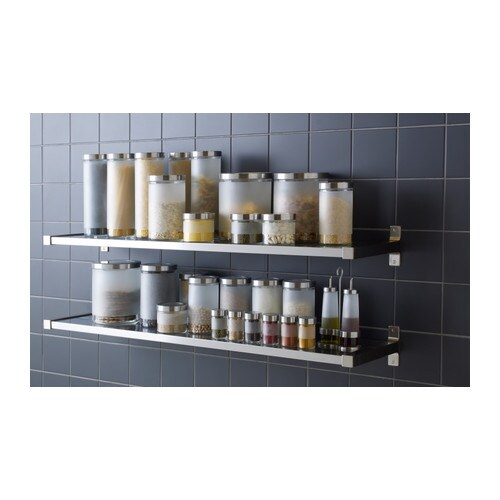 Droppar spice jar frosted glass stainless steel 9 cl ikea - Ikea kitchen spice rack ...
