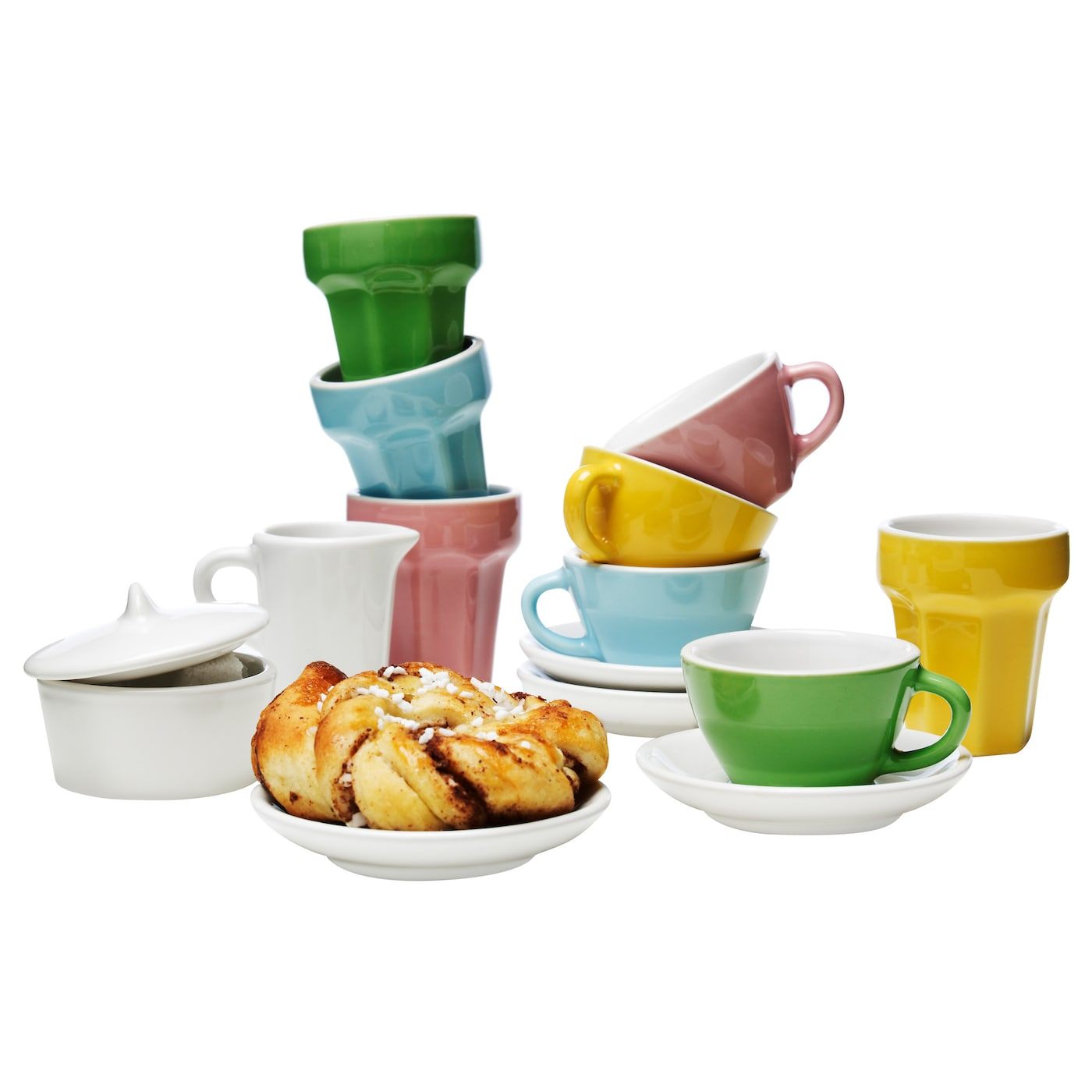 IKEA DUKTIG 10-piece coffee/tea set Mini tea and coffee cups and café latte mugs for play.
