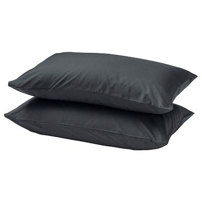 DVALA Pillowcase, black, 50x80 cm