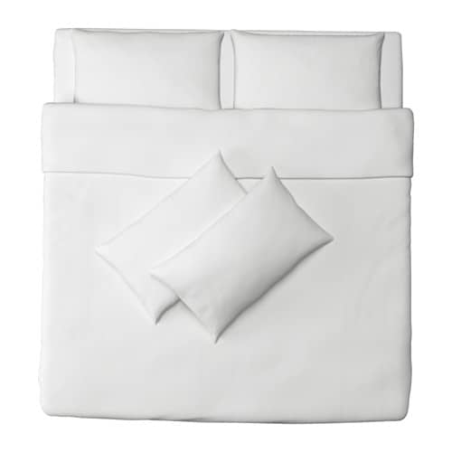 IKEA DVALA quilt cover and 4 pillowcases Concealed press studs keep the quilt in place.