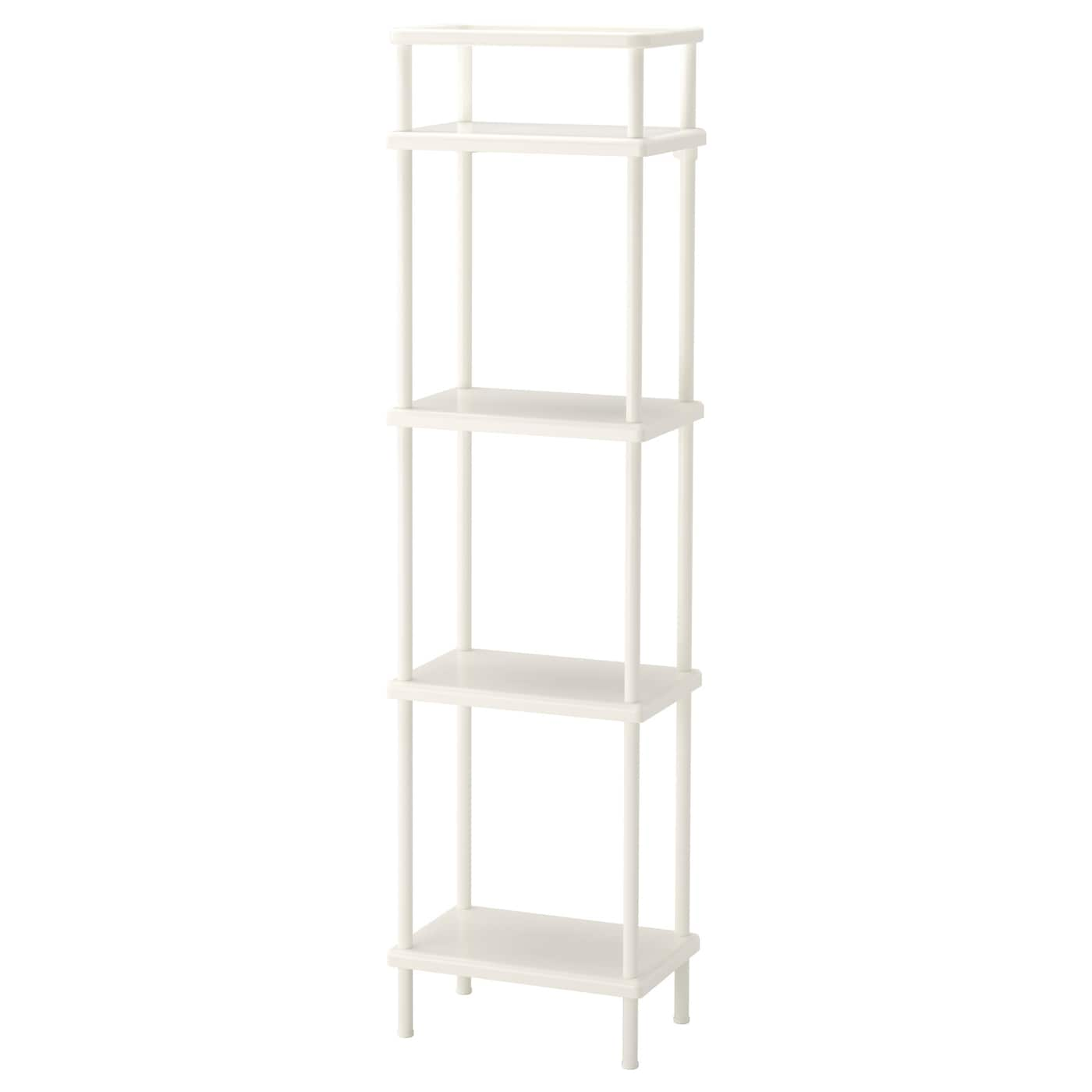 Dynan shelf unit white 40x27x148 cm ikea for Metal bathroom shelving unit