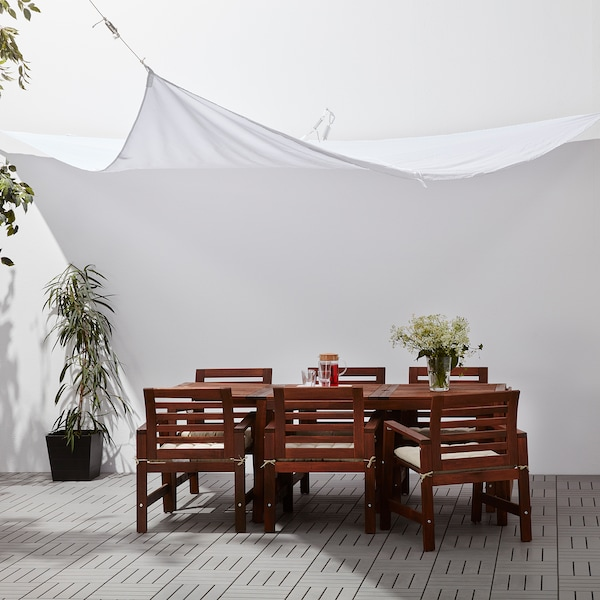 DYNING Canopy, wedge-shaped/white, 360 cm