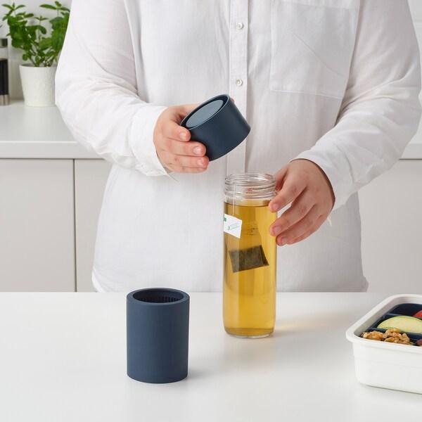 EFTERSTRÄVA Travel mug, clear glass/silicone, 0.5 l