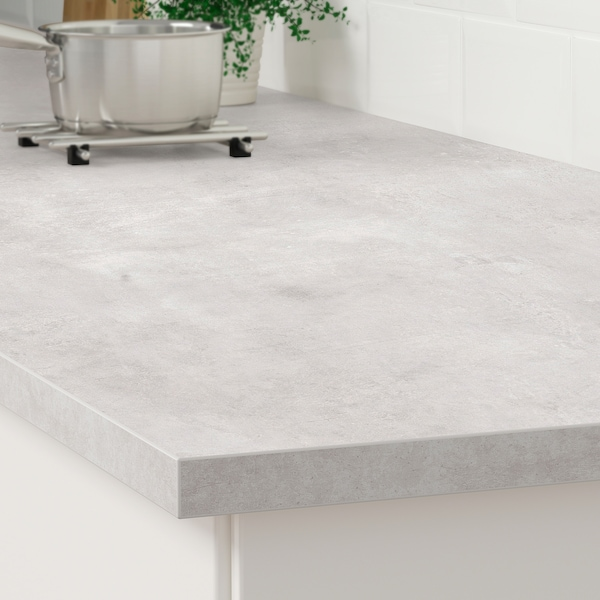 EKBACKEN Worktop, light grey concrete effect/laminate, 246x2.8 cm