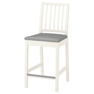 EKEDALEN Bar stool with backrest, white/Ramna light grey, 62 cm