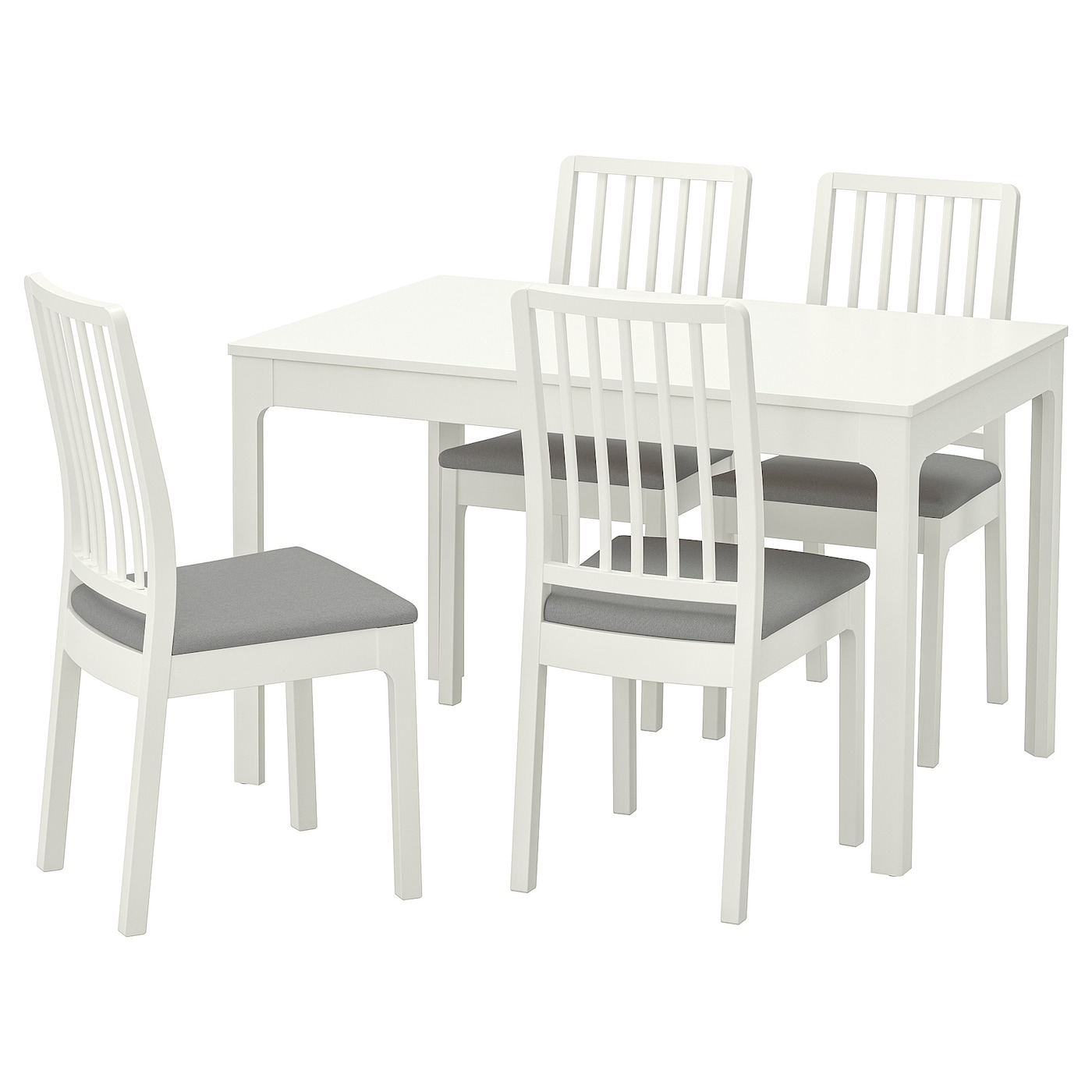 EKEDALEN/EKEDALEN Table and 4 chairs White/ramna light grey 120/180 ...