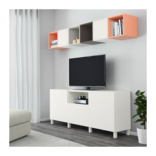 eket best cabinet combination for tv white dark grey light orange 210x40x220 cm ikea. Black Bedroom Furniture Sets. Home Design Ideas
