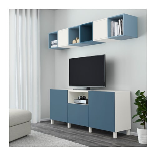 eket best cabinet combination for tv white light blue dark blue 210x40x220 cm ikea. Black Bedroom Furniture Sets. Home Design Ideas