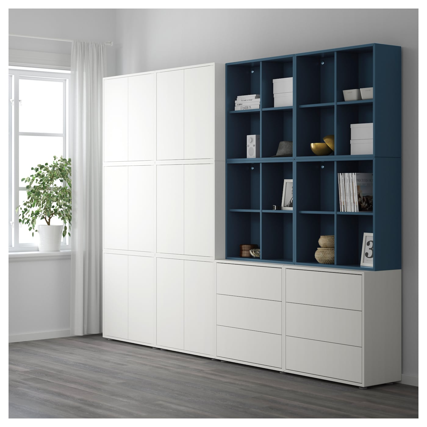 eket cabinet combination with feet white dark blue 280 x 35 x 212 cm ikea. Black Bedroom Furniture Sets. Home Design Ideas