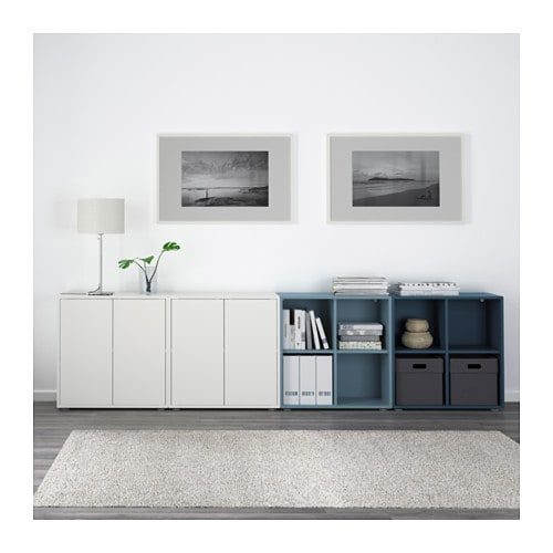 eket cabinet combination with feet white light blue dark blue 280x35x72 cm ikea. Black Bedroom Furniture Sets. Home Design Ideas