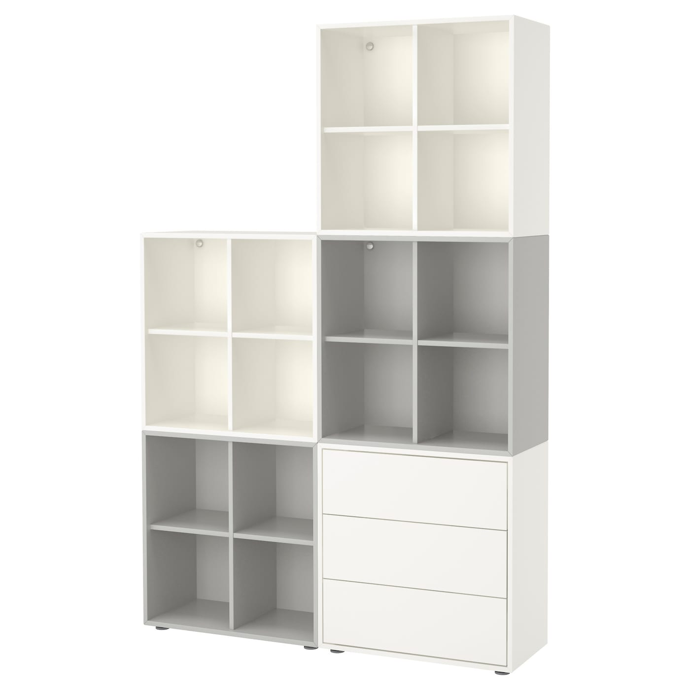eket cabinet combination with feet white light grey 140 x 35 x 212 cm ikea. Black Bedroom Furniture Sets. Home Design Ideas