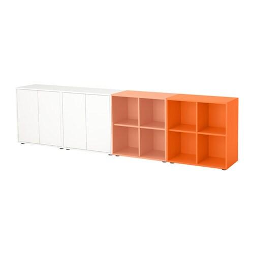 EKET Cabinet Combination With Feet White Orange Light Orange 280x35x72 Cm IKEA